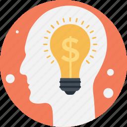 bulb, business idea, dollar, innovation, mind icon
