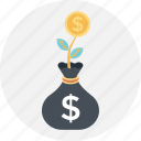 business, dollar, growth, plant, sack icon