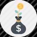 business, dollar, growth, plant, sack