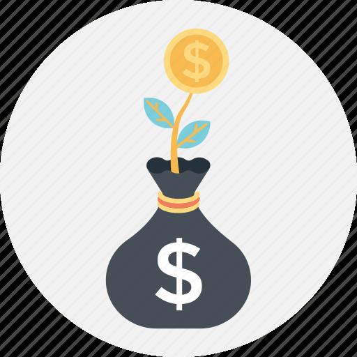 business, dollar, growth, plant, sack icon