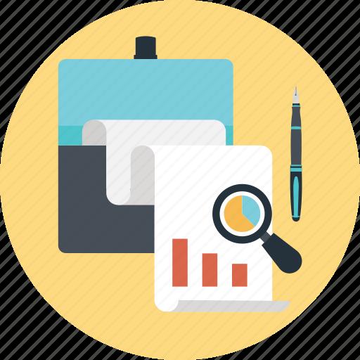 bar, graph, magnifier, market research, pie icon