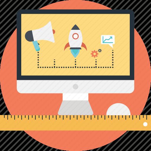 advertisement, bullhorn, digital marketing, launch, ruler icon