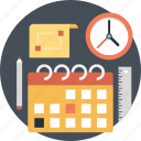 calendar, clock, date, pencil, planning icon