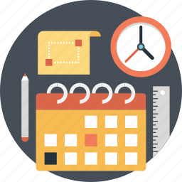 calendar, clock, date, pencil, planning icon