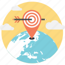 bullseye, dart, geo targeting, location, map icon