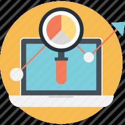 analytics, business, laptop, pie, statistics icon