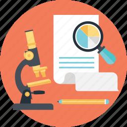 graph, magnifier, market research, pie, sheet icon