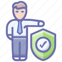 insured person, life insurance, person assurance, person protection, person security icon