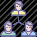 company employees, coordination, leadership, team, team leader, teamwork icon