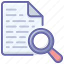 data search, document analysis, document review, report analysis, report monitoring icon
