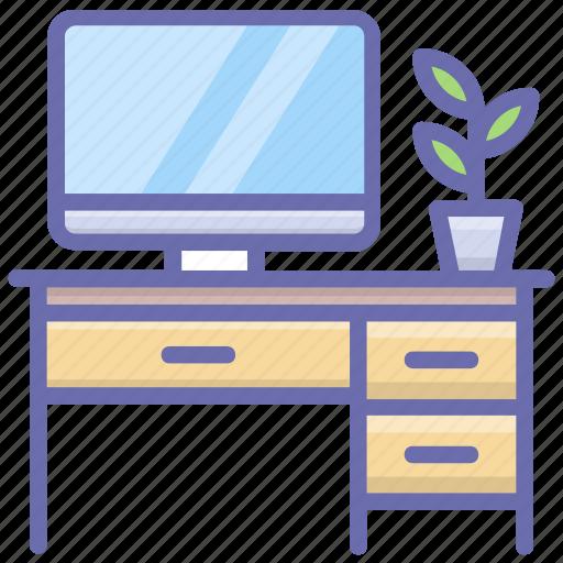 office desk, work area, work station, working desk, workplace icon
