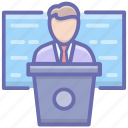 business meeting, conference, presentation podium, seminar, speech icon
