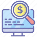 ecommerce analysis, financial, financial analysis, financial monitoring, money analysis, research icon