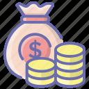 asset, cash, finance, money, money bag, money sack, wealth icon