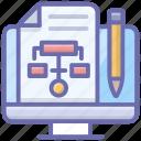 algorithm, flow diagram, flowchart, online hierarchy, online sitemap icon