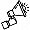 advertising, announcement, bullhorn, loudspeaker, megaphone icon