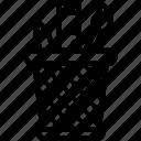 brush, holder, pen, pencil, ruler icon