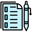 documents, files, office, papers, pen icon