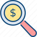 finance, funds, magnifier, search, search funds