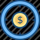 coin, dollar, finance, focus, goal, money, target icon