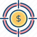 business, finance, funds, goal, hunting, money icon
