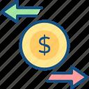 charge back, finance, money, refund, revert icon