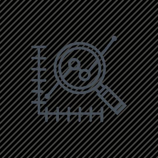 data analytics, database, magnifying glass, statistics, stats icon