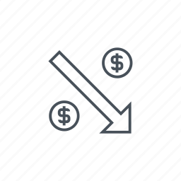 coin stacks, coins, down arrow, money, money currency, money pack icon