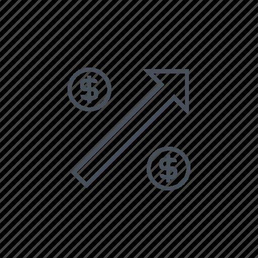 arrow, dollar, earn, money, rich, rise, wealth icon