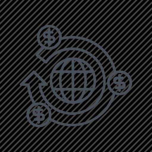 dollar symbol, exchange, financial market, globe, globe grid, money, world icon