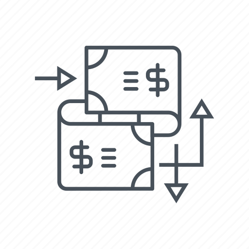 arrows, cash, coin, dollar symbol, exchange, transfer, wire transfer icon