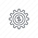 dollar, gear, money, settings, sign, wheel icon