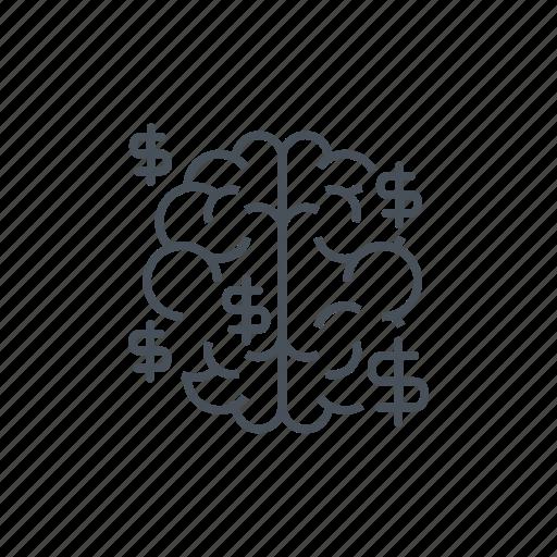 brain, creative, dolar sign, earn money, idea, make money icon