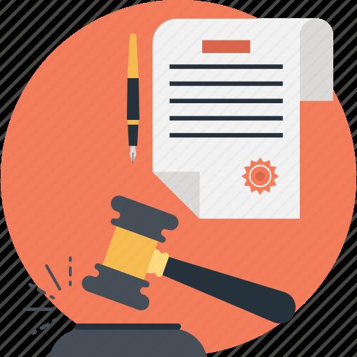 auction, gavel, law, legal paper, pen icon