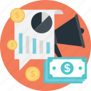advert, bar, graph, market analytics, paper money icon