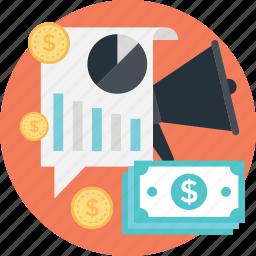 advert, bar, graph, market analytics, paper money icon
