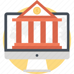 banking, building, m commerce, monitor, online banking icon
