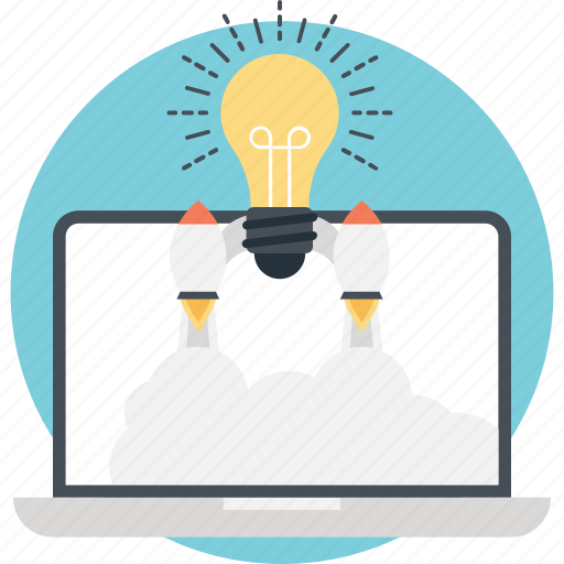 bulb, creativity, idea, laptop, startup icon