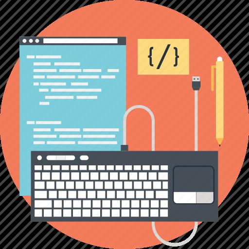 coding, development, keyboard, source code, web icon
