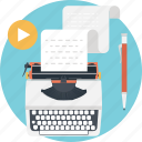 content writing, stenographer, typewriter, typing, typist icon