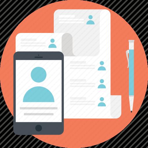 agenda, contact, paper, sheet, smartphone icon