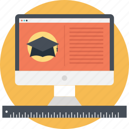 degree, graduation, mortarboard, online education, scholar icon