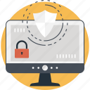 data protection, lock, monitor, padlock, shield icon