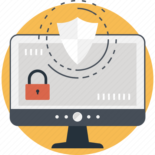data protection, lock, monitor, padlock, shield icon