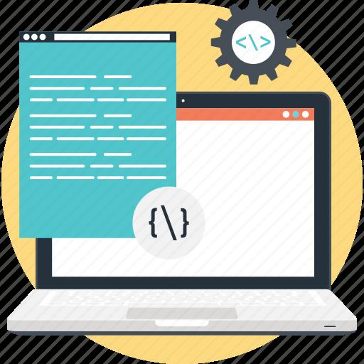 coding, cog, cogwheel, programming, script icon