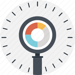 find, magnifier, pie, research, search icon
