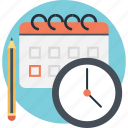 calendar, pencil, planning, schedule, timer icon