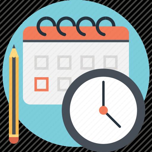 calendar, pencil, planning, schedule, timer icon