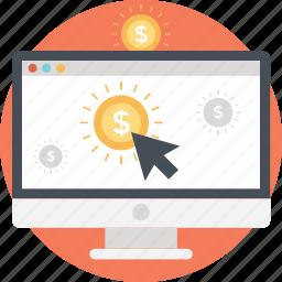 device, dollar, make money, mouse, ppc icon