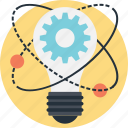 bulb, cog, idea, innovation, solution icon